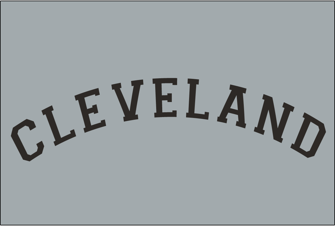 Cleveland Naps Logo Jersey Logo (1910-1912) - CLEVELAND in black arched collegiate-style block font on grey, worn on Naps road uniform from 1910-12 SportsLogos.Net