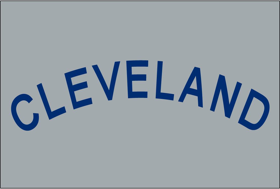 Cleveland Naps Logo Jersey Logo (1905-1907) - CLEVELAND in blue arched sans-serif font on grey, worn on Naps road uniform from 1905-07 SportsLogos.Net