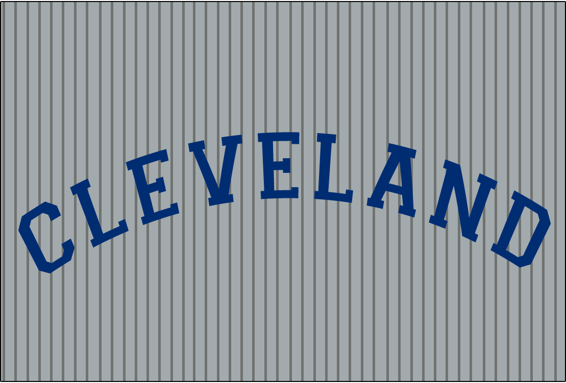 Cleveland Naps Logo Jersey Logo (1908-1909) - CLEVELAND in blue arched collegiate-style block font on grey with pinstripes, worn on Naps road uniform from 1913-14 SportsLogos.Net
