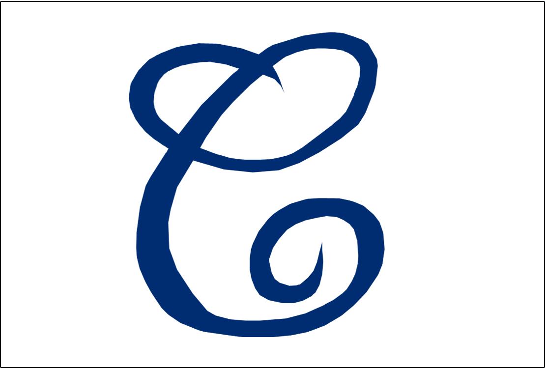 Cleveland Naps Logo Jersey Logo (1905) - A cursive blue C on white, worn on Naps home jerseys in 1905 SportsLogos.Net