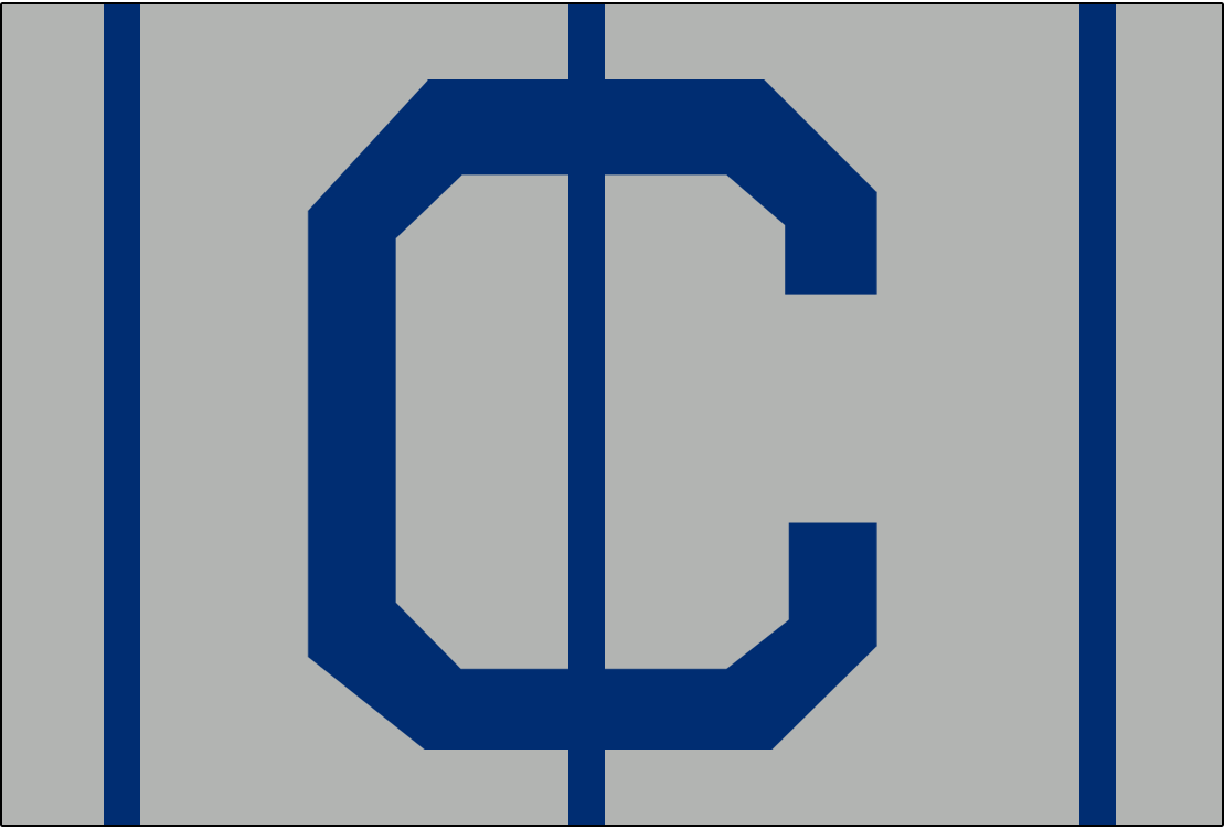 Cleveland Naps Logo Cap Logo (1905-1907) - A blue C on grey with blue vertical lines, worn on Naps road cap from 1905-07 SportsLogos.Net