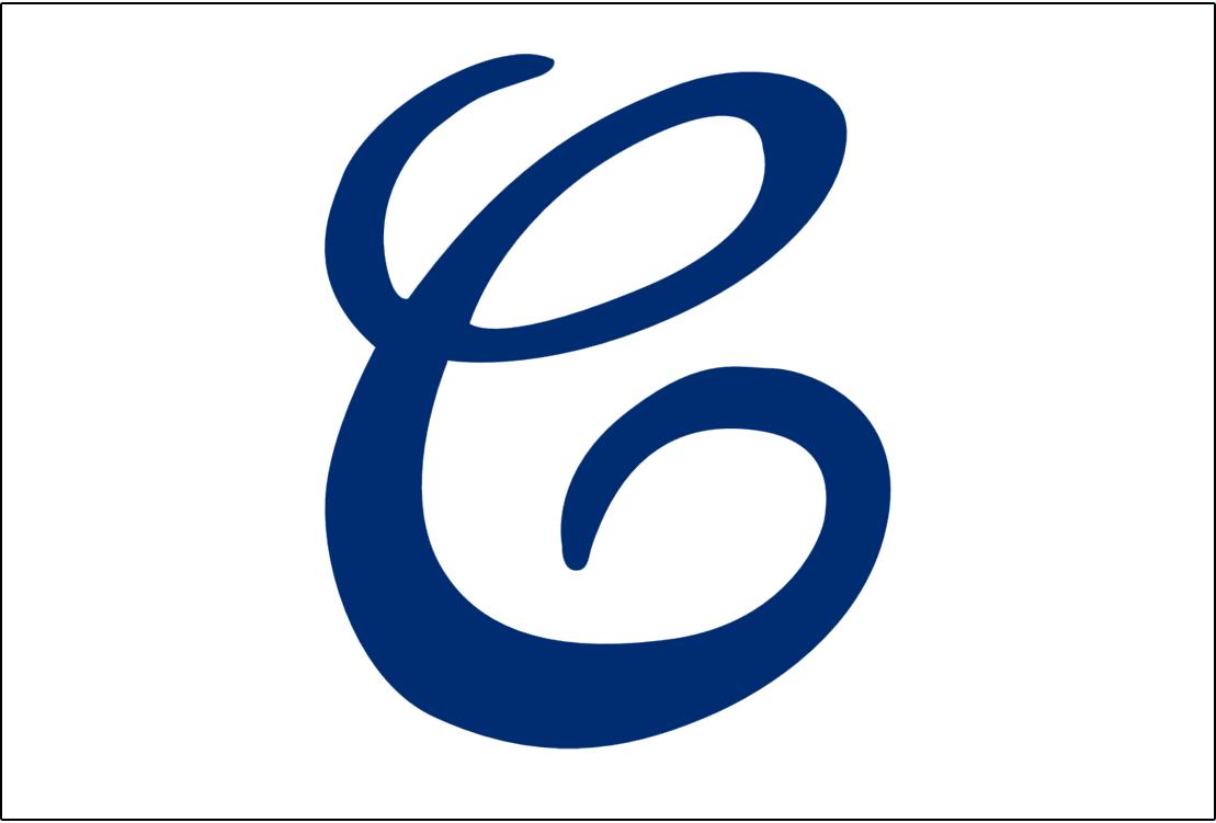 Cleveland Naps Logo Jersey Logo (1909) - A cursive blue C on white, worn on Naps home jerseys during 1909 season SportsLogos.Net