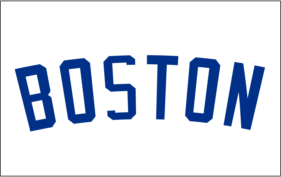 Boston Americans Logo Jersey Logo (1903-1907) - BOSTON arched in blue on white, worn on the front of the Boston Americans home jerseys in 1901 and again from 1903-07 SportsLogos.Net