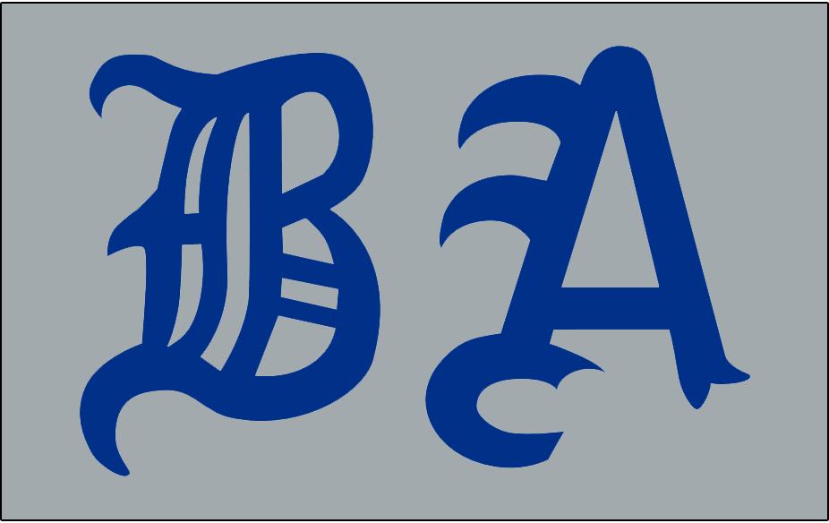 Boston Americans Logo Jersey Logo (1902) - BA in blue olde-english style letters on grey, worn on Americans road jersey during 1902 season SportsLogos.Net