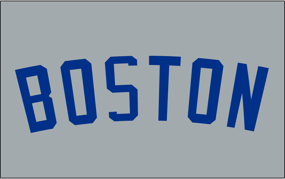 Boston Americans Logo Jersey Logo (1903-1907) - BOSTON arched in blue on grey, worn on the front of the Boston Americans road jerseys in 1901 and again from 1903-07 SportsLogos.Net