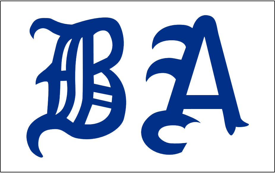 Boston Americans Logo Jersey Logo (1902) - BA in blue olde-english style letters on white, worn on Americans home jersey during 1902 season SportsLogos.Net