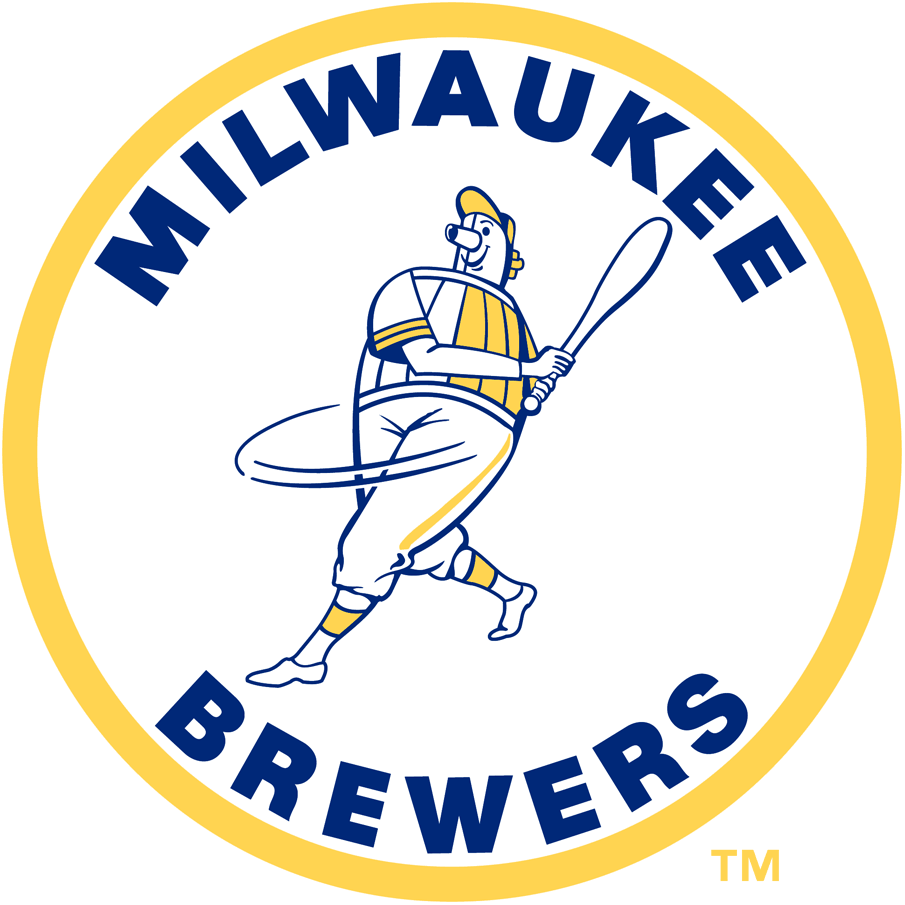 Milwaukee Brewers Logo Primary Logo (1970-1977) - The Beer Barrel Man Logo, a player with the body of a beer barrel swinging a baseball bat within a yellow circle and team name around in blue. This was also used during the city's prior bids to receive an MLB team but in a red, white, blue colour scheme SportsLogos.Net