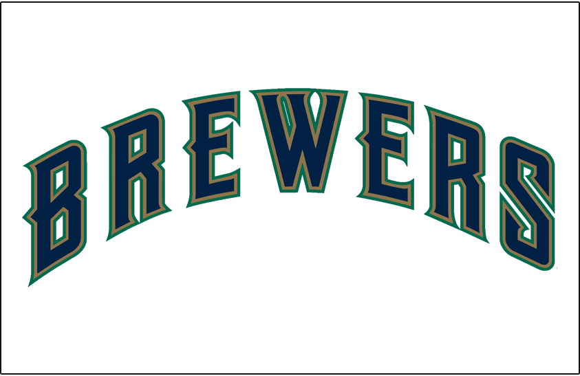 Milwaukee Brewers Logo Jersey Logo (1997) - (Home) Brewers in blue with gold and green outlines on white SportsLogos.Net
