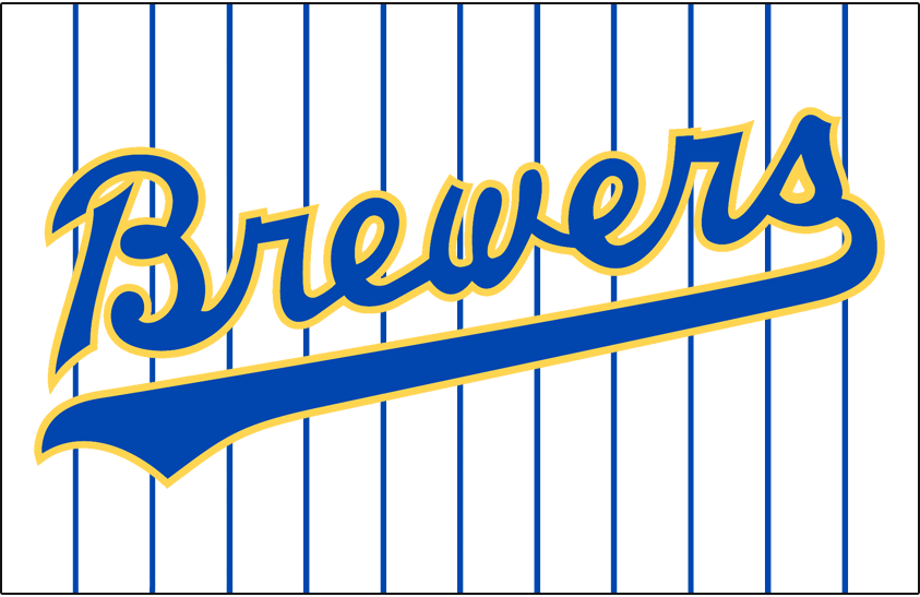 Milwaukee Brewers Logo Jersey Logo (1990-1993) - Brewers scripted in blue and yellow on a white jersey with blue pinstripes, worn on Brewers home jersey from 1990 to 1993 SportsLogos.Net