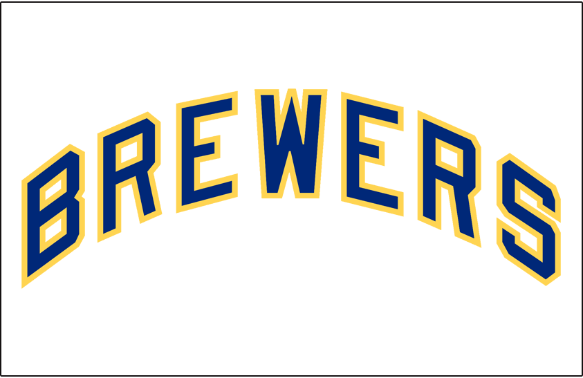 Milwaukee Brewers Logo Jersey Logo (1970-1977) - Brewers in blue with yellow outline, worn on Milwaukee Brewers home jersey from 1970 through 1977 SportsLogos.Net