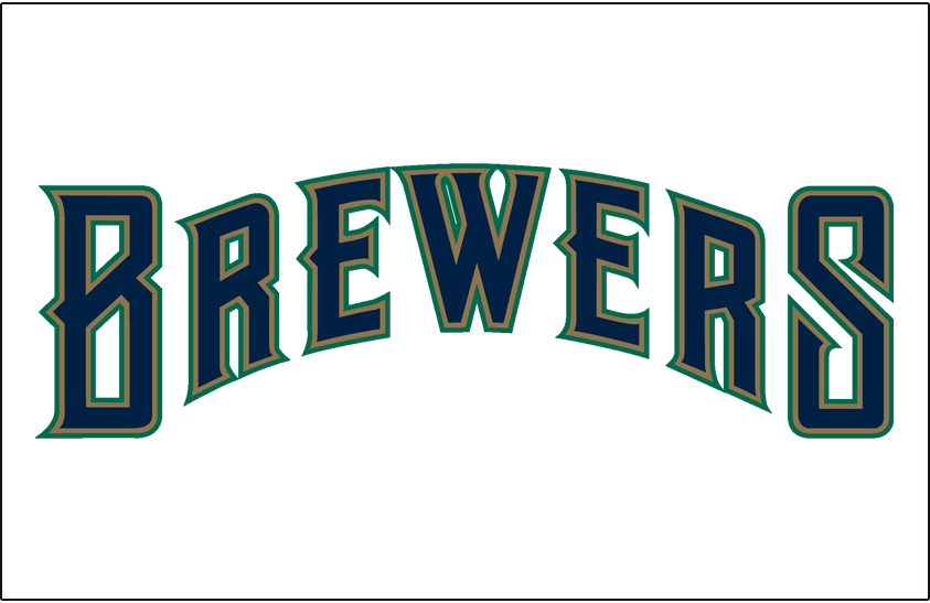 Milwaukee Brewers Logo Jersey Logo (1994-1996) - (Home) Brewers in blue with gold and green outlines on white SportsLogos.Net