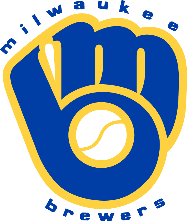 Milwaukee Brewers Logo Wordmark Logo (1978-1993) - 'MB' shaped into a baseball glove in blue and gold, team name arched around SportsLogos.Net