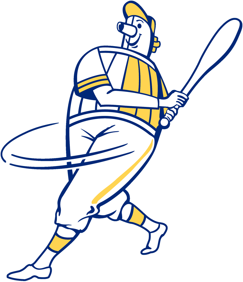 Milwaukee Brewers Logo Alternate Logo (1970-1977) - Beer Barrelman swinging a bat in blue and gold SportsLogos.Net