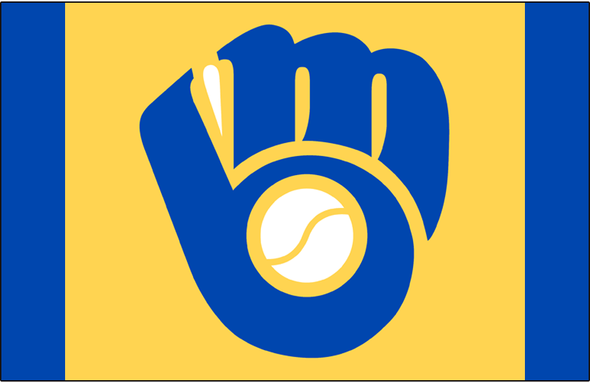 Milwaukee Brewers Logo Cap Logo (1978-1985) - Blue mb glove logo on the yellow front panel of a blue cap, worn on the road by the Milwaukee Brewers from 1978 through 1985 SportsLogos.Net