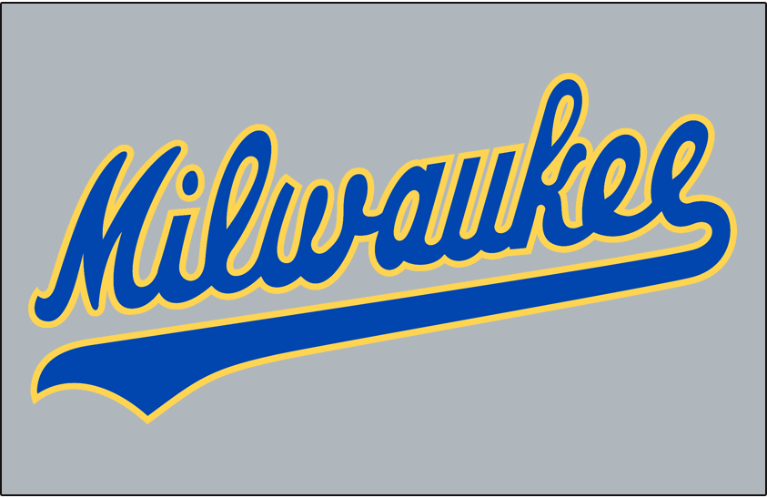Milwaukee Brewers Logo Jersey Logo (1990-1993) - Milwaukee scripted in blue and yellow on a grey jersey, worn on Brewers road uniform from 1990 until 1993 SportsLogos.Net