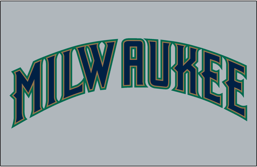 Milwaukee Brewers Logo Jersey Logo (1997) - (Road) Milwaukee in blue with gold and green outlines on grey SportsLogos.Net