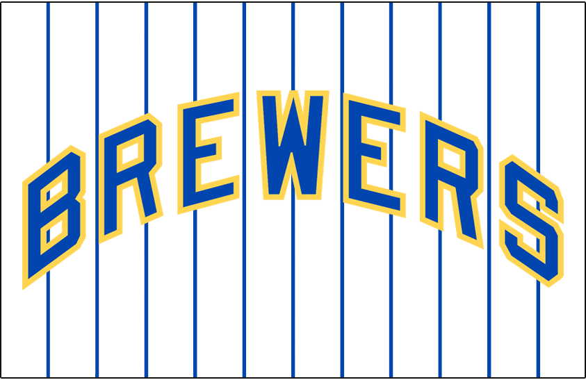Milwaukee Brewers Logo Jersey Logo (1978-1989) - Brewers in blue and yellow arched on a white jersey with blue pinstripes, worn on Brewers home jersey from 1978 until 1989. Brought back as an alternate jersey in 2006 SportsLogos.Net