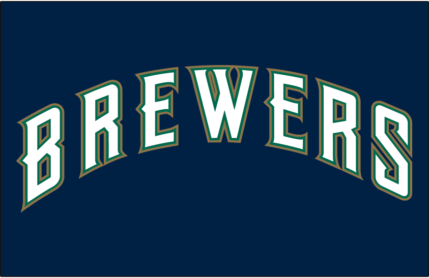 Milwaukee Brewers Logo Jersey Logo (1997) - (Alternate) Brewers in white with green and gold outlines on blue SportsLogos.Net
