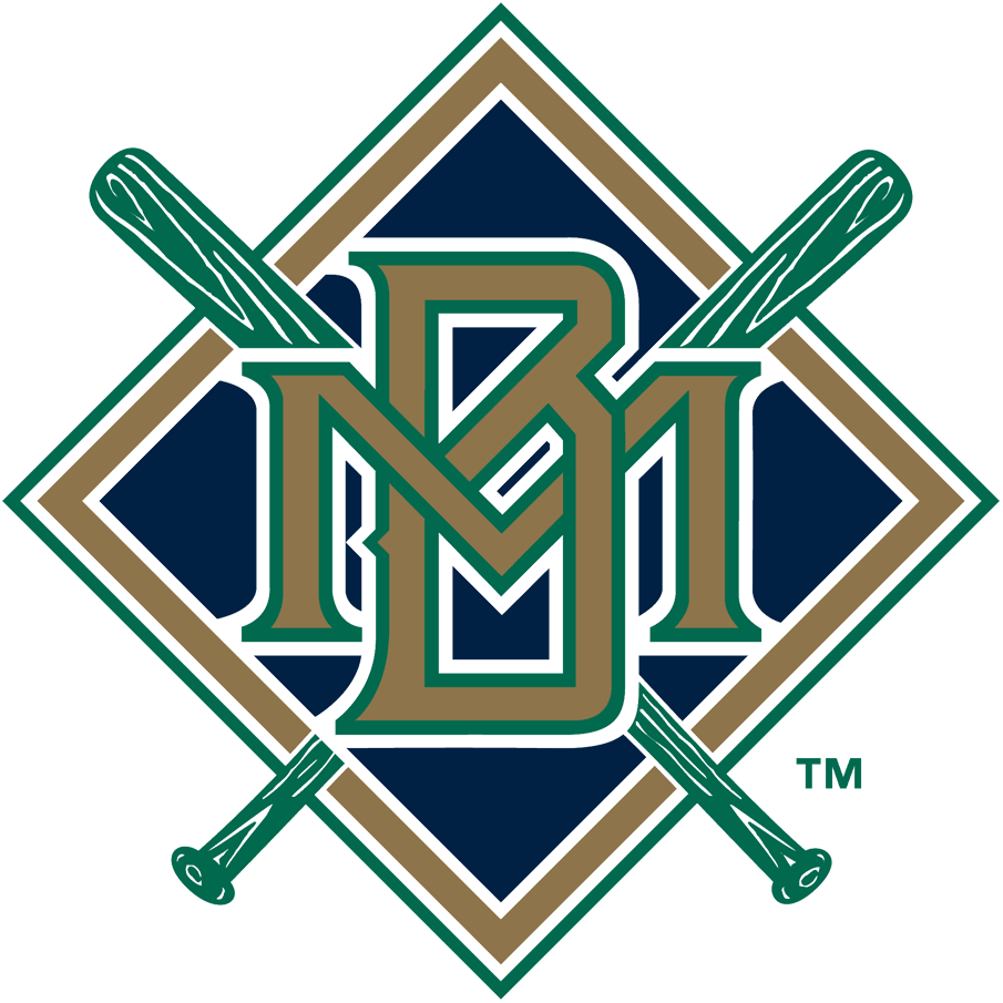 Milwaukee Brewers Logo Primary Logo (1994-1997) - Interlocking MB in gold with green and white outlines on a blue, gold and white diamond with crossed green bats. SportsLogos.Net