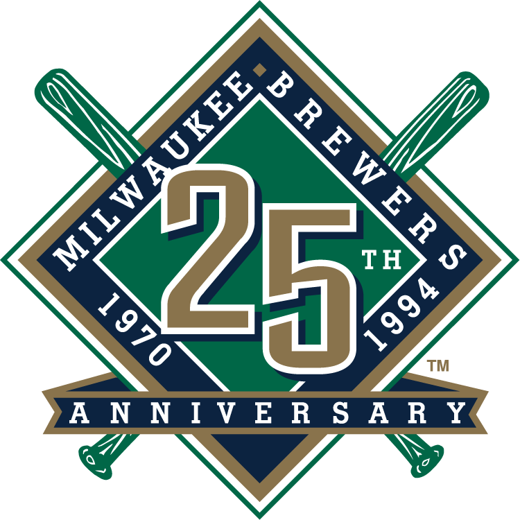 Milwaukee Brewers Logo Anniversary Logo (1994) - Milwaukee Brewers 25th Anniversary Logo SportsLogos.Net