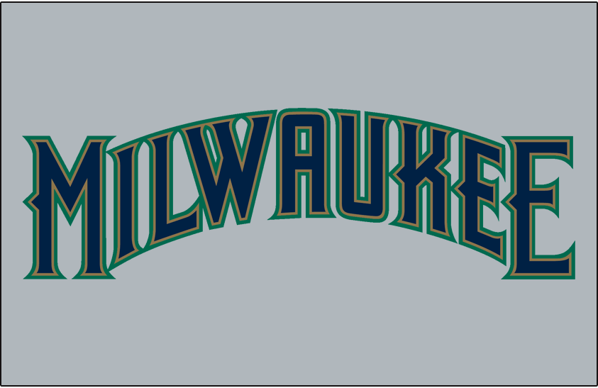 Milwaukee Brewers Logo Jersey Logo (1994-1996) - (Road) Milwaukee in blue with gold and green outlines on grey SportsLogos.Net