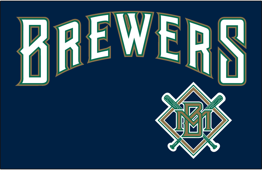 Milwaukee Brewers Logo Jersey Logo (1994-1996) - (Alternate) Brewers in white with green and gold outlines on blue SportsLogos.Net