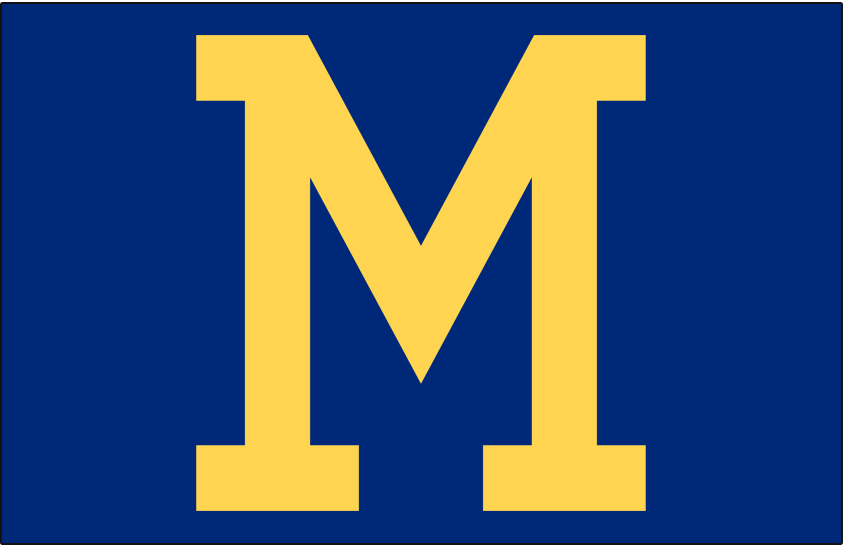 Milwaukee Brewers Logo Cap Logo (1970-1977) - Block letter M in yellow on blue, worn by the Milwaukee Brewers for home and road games from 1970 through 1973 and then at home only from 1974 until 1977 SportsLogos.Net