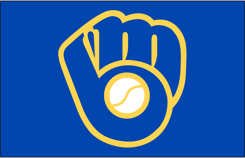 Milwaukee Brewers Logo Cap Logo (1978-1993) - Blue MB shaped into glove with yellow outline, worn on Milwaukee Brewers home cap only from 1978-85, worn full-time home and road from 1986-93. Brought back as an alternate cap in 2006 SportsLogos.Net