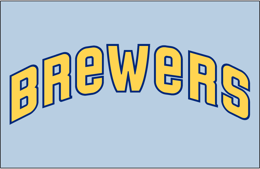 Milwaukee Brewers Logo Jersey Logo (1970-1971) - (Road) Brewers in yellow with blue outline  SportsLogos.Net