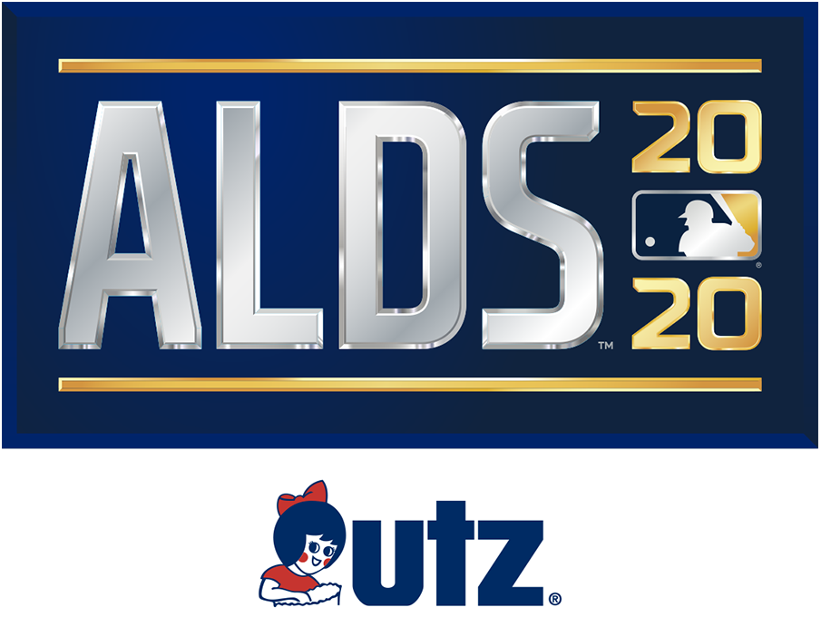 ALDS Logo Sponsored Logo (2020) - The 2020 American League Division Series logo shows the abbreviated name of the event, ALDS, in all caps sans-serif silver lettering with the year in gold to the right and the MLB logo. The entire logo is placed within a navy blue rectangle. This version here, shown with the Utz branding, is considered the official primary logo of the event. SportsLogos.Net