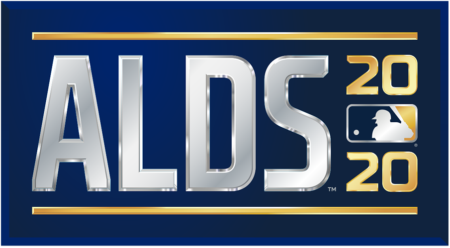 ALDS Logo Primary Logo (2020) - The 2020 American League Division Series logo shows the abbreviated name of the event, ALDS, in all caps sans-serif silver lettering with the year in gold to the right and the MLB logo. The entire logo is placed within a navy blue rectangle. SportsLogos.Net
