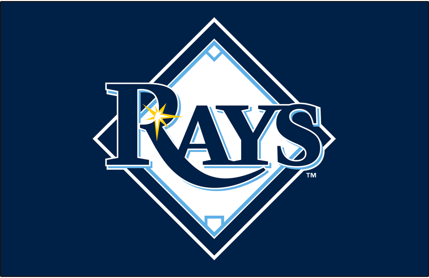 Tampa Bay Rays Logo Primary Dark Logo (2008-2018) - Rays primary mark on blue SportsLogos.Net