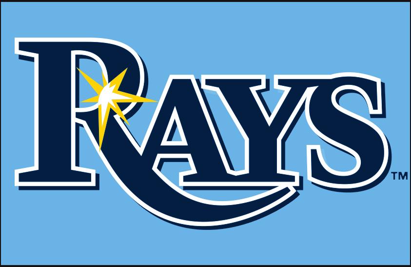 Tampa Bay Rays Logo Primary Dark Logo (2019-Pres) - Tampa Bay Rays primary script style logo on powder blue SportsLogos.Net