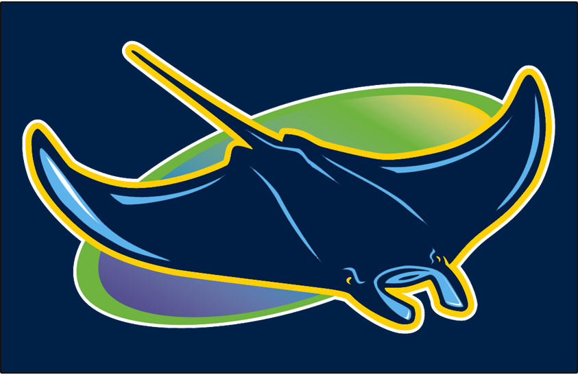 Tampa Bay Rays Logo Cap Logo (2018-Pres) - Classic devil ray logo from 1998 re-coloured in modern colours with original gradient still present in the oval. Worn on Rays alternate caps in 2018 season SportsLogos.Net