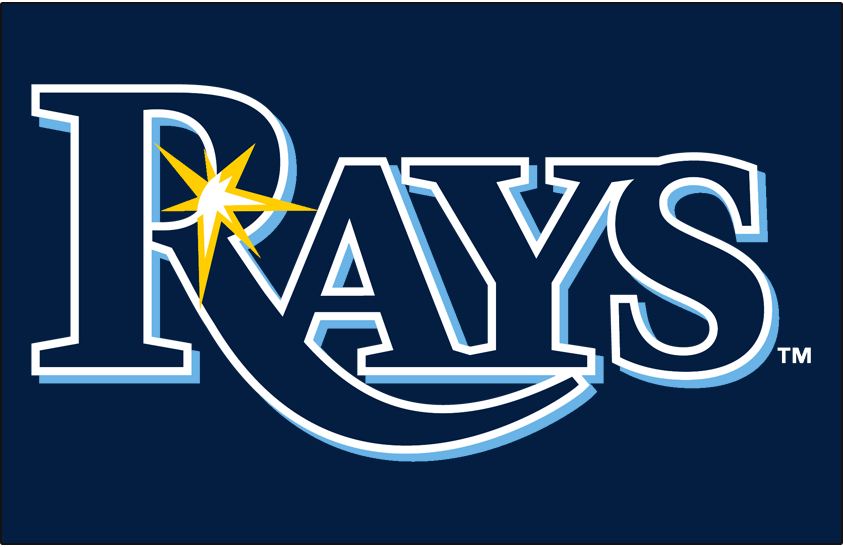 Tampa Bay Rays Logo Primary Dark Logo (2019-Pres) - RAYS in navy blue with a light blue drop shadow and a glint of sun ray in gold on navy blue SportsLogos.Net