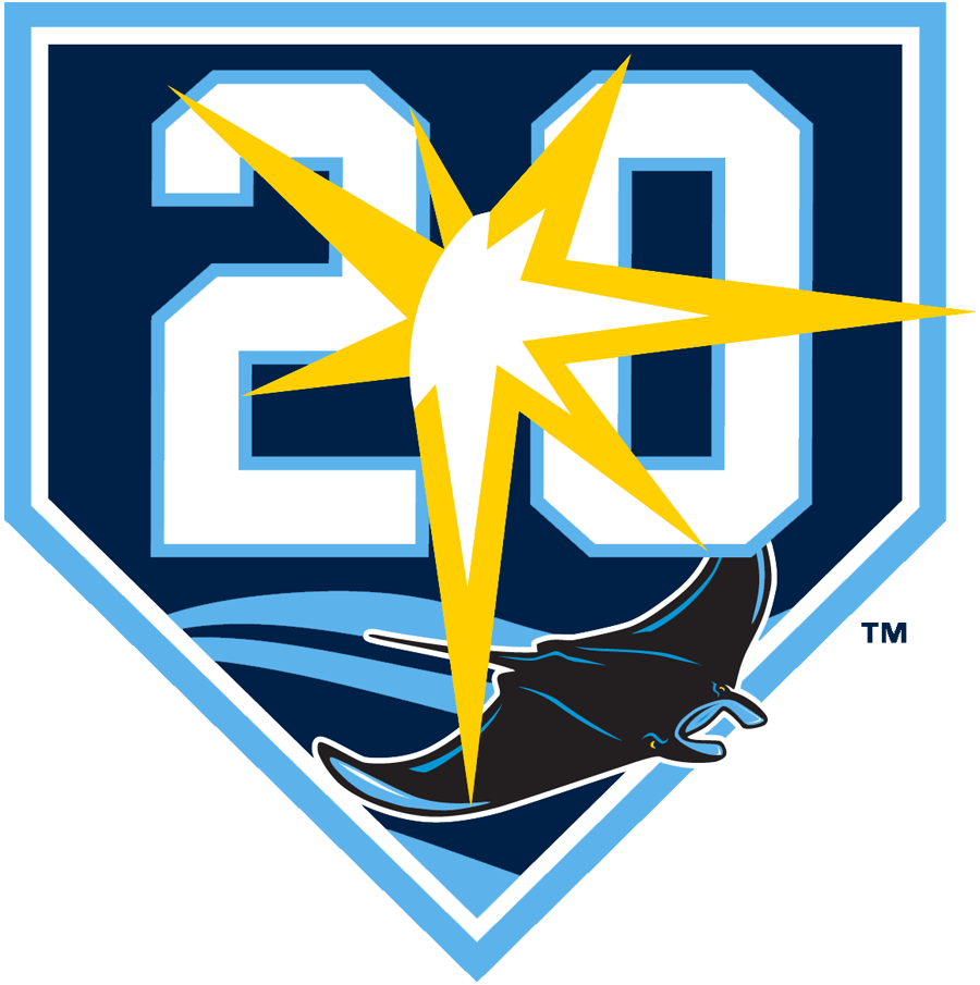 Tampa Bay Rays Logo Anniversary Logo (2018) - 20th anniversary logo for the Tampa Bay Rays - Tampa Bay Devil Rays, worn as a jersey sleeve patch during 2018 season SportsLogos.Net