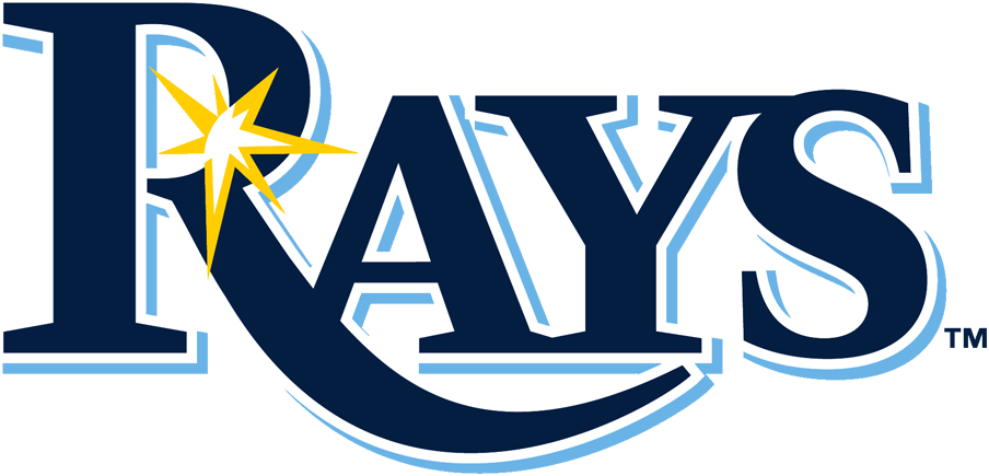 Tampa Bay Rays Logo Primary Logo (2019-Pres) - RAYS in navy blue with a light blue drop shadow and a glint of sun ray in gold SportsLogos.Net