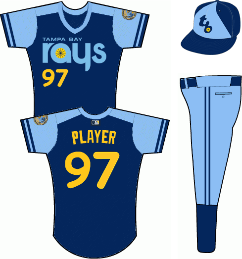 Tampa Bay Rays Uniform Alternate Uniform (2012-2018) - 1979 Turn Back the Clock fauxback throwback uniform, navy blue with powder blue arms, yellow name and number, team name across front in powder blue.  City of St Petersburg seal on left arm SportsLogos.Net