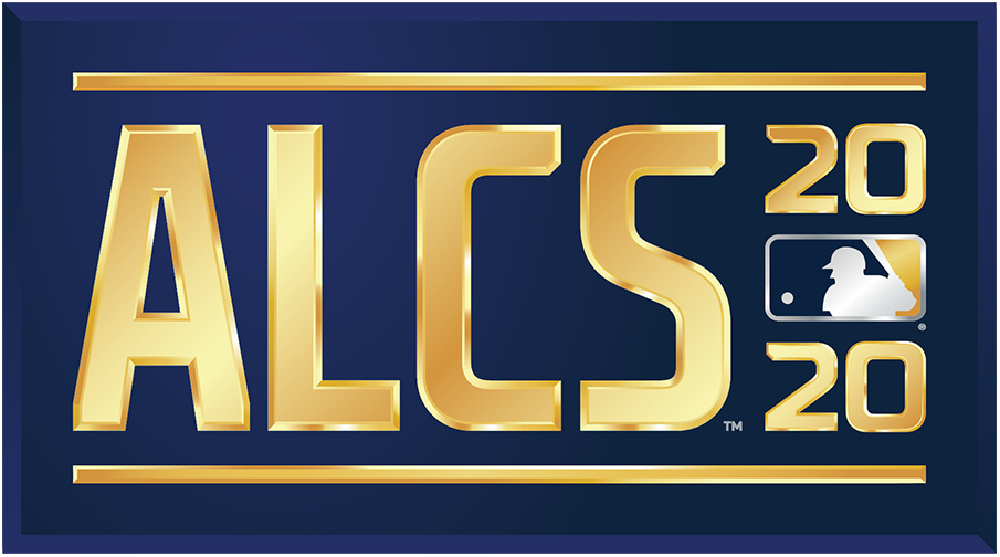 ALCS Logo Primary Logo (2020) - The 2020 American League Championship Series logo shows the abbreviated name of the event, ALCS, in all caps sans-serif gold lettering with the year in gold to the right and the MLB logo. The entire logo is placed within a navy blue rectangle. SportsLogos.Net