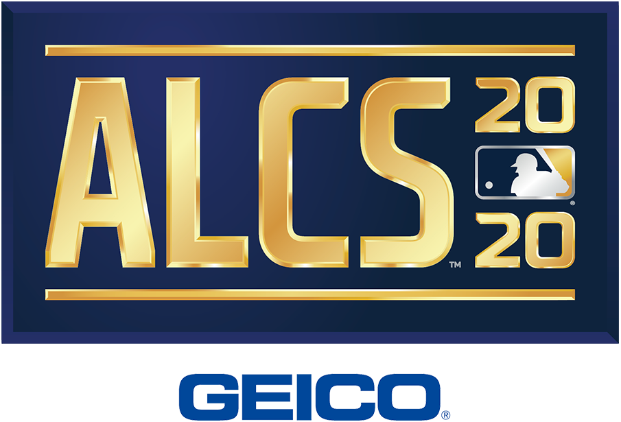 ALCS Logo Sponsored Logo (2020) - The 2020 American League Championship Series logo shows the abbreviated name of the event, ALCS, in all caps sans-serif gold lettering with the year in gold to the right and the MLB logo. The entire logo is placed within a navy blue rectangle. This version of the logo, shown with the GEICO branding, is considered the official primary logo for the event SportsLogos.Net