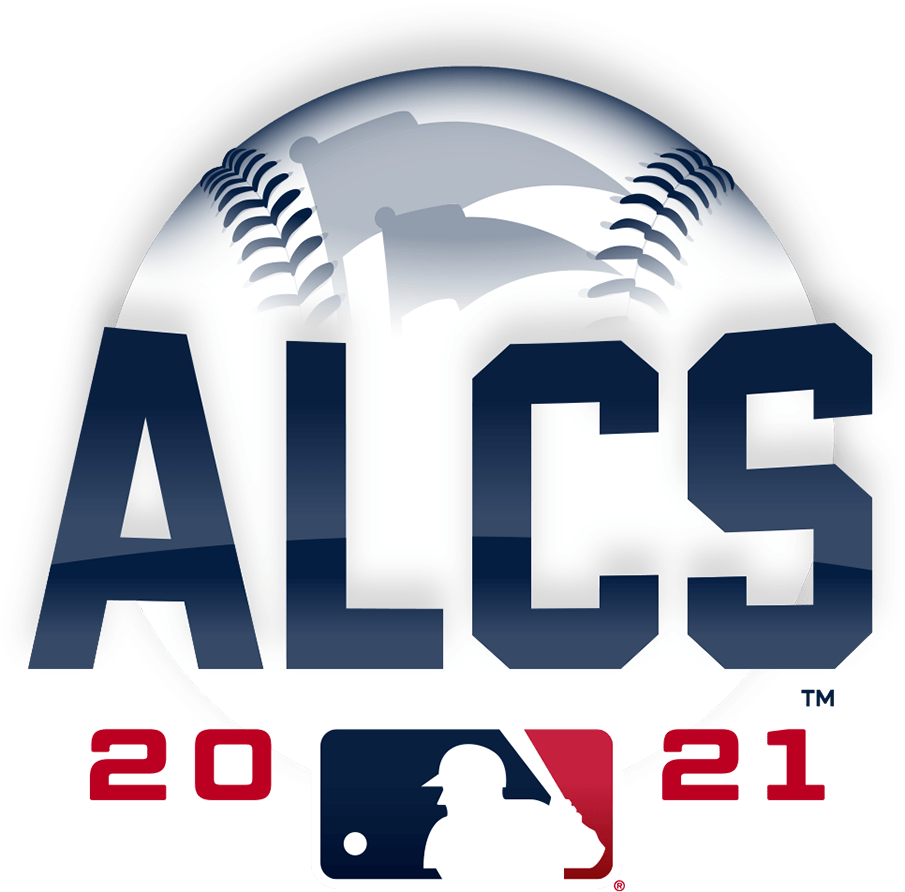 ALCS Logo Primary Logo (2021) - The 2021 American League Championship Series logo shows the name of the series ALCS in blue in front of a white baseball with blue stitching and two pennants, the MLB logo is below with the year 2021 placed on either side of the logo in red SportsLogos.Net