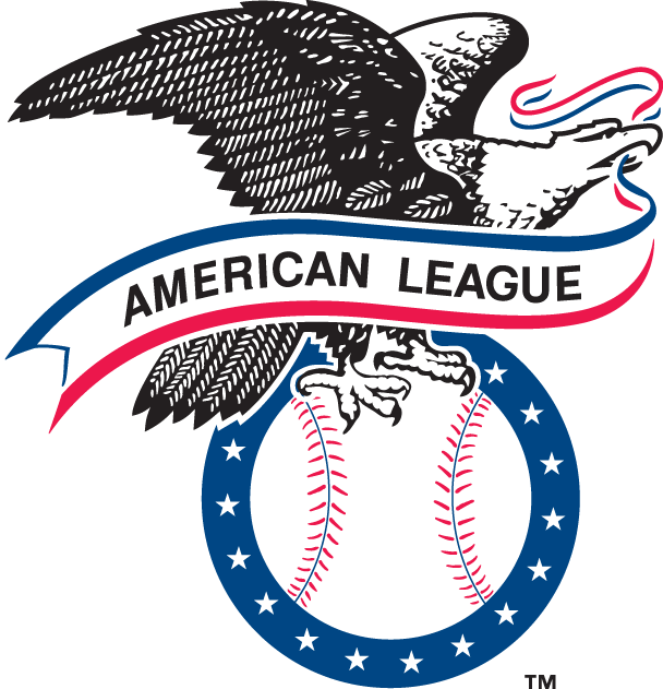 American League Logo Primary Logo (1977-2012) - An eagle with banner perched on ringed baseball with 14 stars. SportsLogos.Net