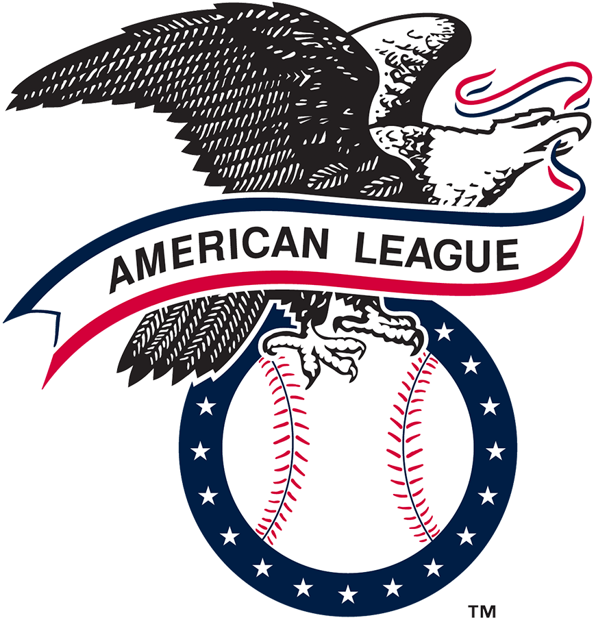 American League Logo Primary Logo (2019-Pres) - The primary logo of the American League has long featured an eagle with wings spread wide, perched on a baseball and holding a banner in its beak. Over the years the number of stars, representing the number of teams in the league, has changed as have the colours. In 2019 the stars remained at 15, as it has since 2013, but the red and blue were both darkened to match the colours of the primary Major League Baseball logo. SportsLogos.Net