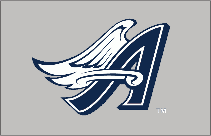 Anaheim Angels Logo Batting Practice Logo (1999) - (B.P.) Blue and white winged 'A' SportsLogos.Net