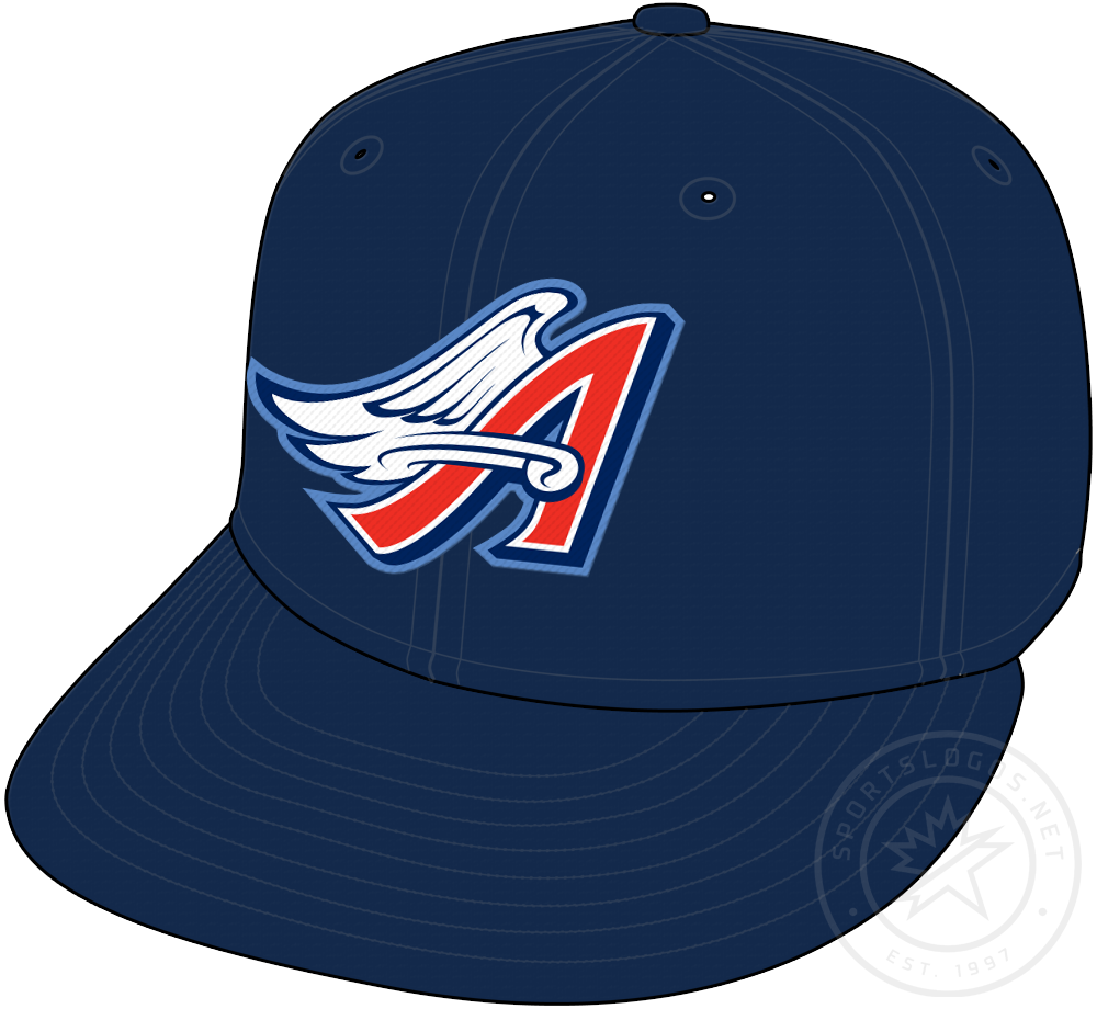 Anaheim Angels Cap Cap (1997-2001) - Anaheim Angels cap with Disney era red A and wings, worn on all blue cap SportsLogos.Net