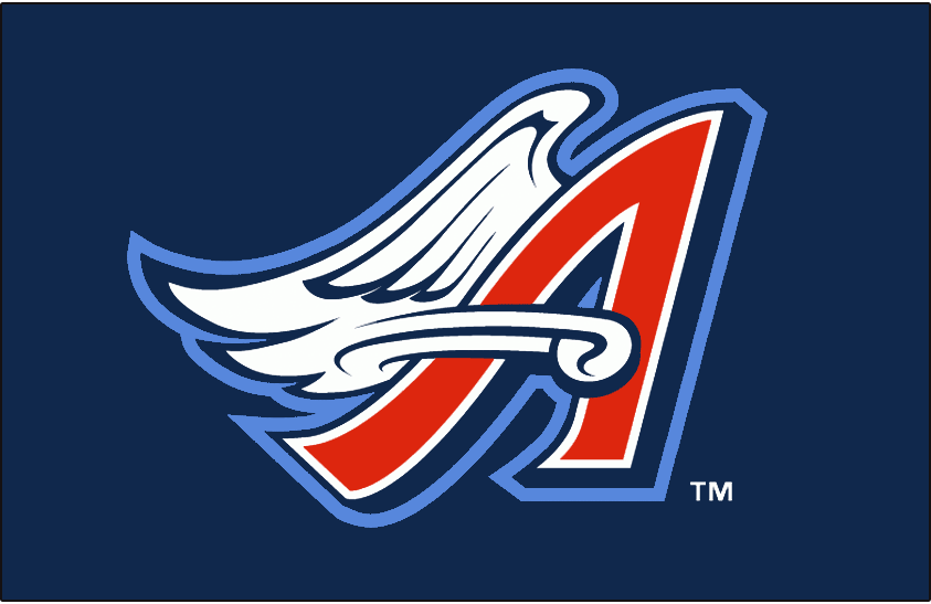 Anaheim Angels Logo Cap Logo (1997-2001) - Red A with navy blue shadow and a white wing on blue SportsLogos.Net