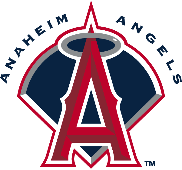 Anaheim Angels Logo Primary Logo (2002-2004) - Red A with silver halo on a navy baseball diamond with script SportsLogos.Net