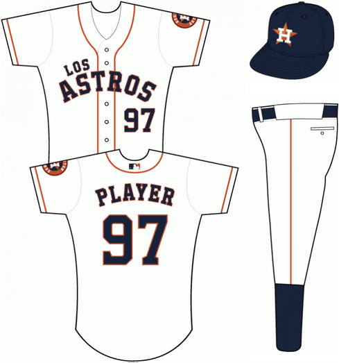 Houston Astros Uniform Special Event Uniform (2013) - White uniform with LOS ASTROS scripted across the front in navy blue letters trimmed in orange.  Orange piping down front of jersey, navy blue cap with H-star logo. SportsLogos.Net