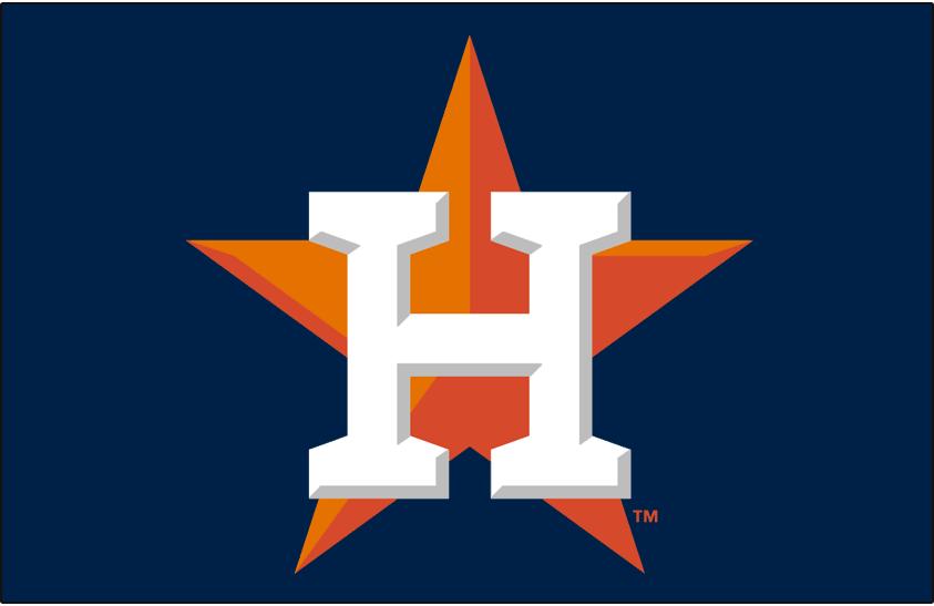 Houston Astros Logo Cap Logo (2013-Pres) - White H on orange star on blue, worn on Astros home and road caps SportsLogos.Net