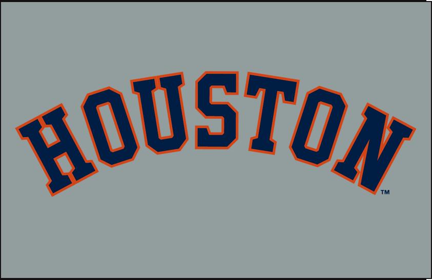 Houston Astros Logo Jersey Logo (2013-Pres) - HOUSTON in blue and orange arched on grey.  Worn on Houston Astros road uniforms SportsLogos.Net